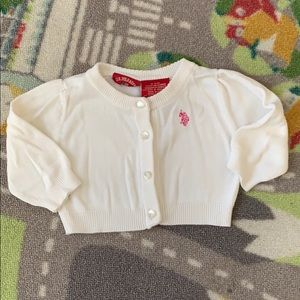 US Polo Assn Baby Girl Cardigan Sweater White 3-6m